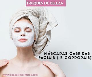 Máscaras de limpeza faciais receitas caseiras