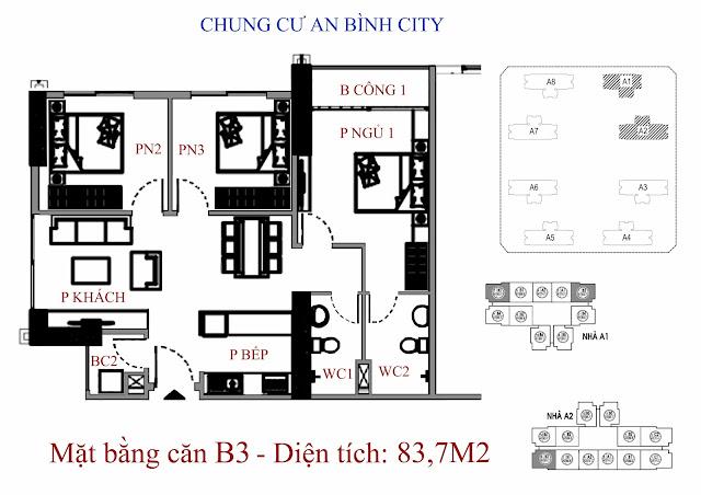 mặt bằng căn hộ b3 - Diện tích 83,7m2