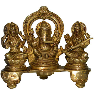DronaCraft Lakshmi Ganesha Saraswati Set Brass Sculptures