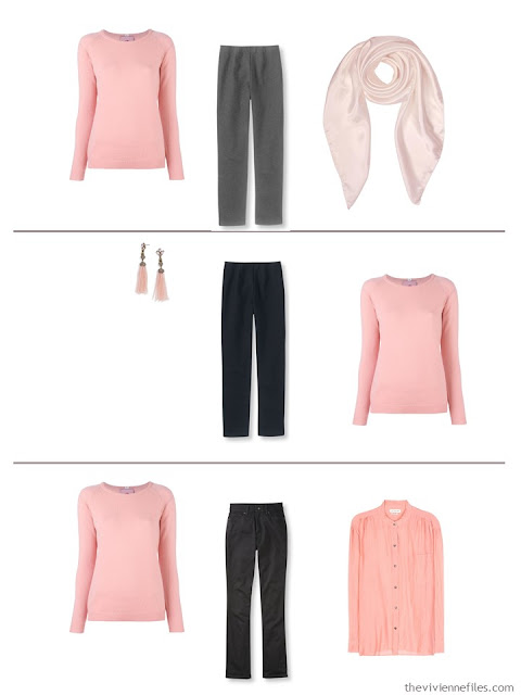 3 outfits in with the 5-piece French capsule wardrobe with rose