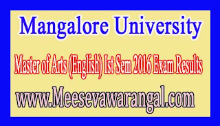 Mangalore University Master of Arts (English) Ist Sem 2016 Exam Results