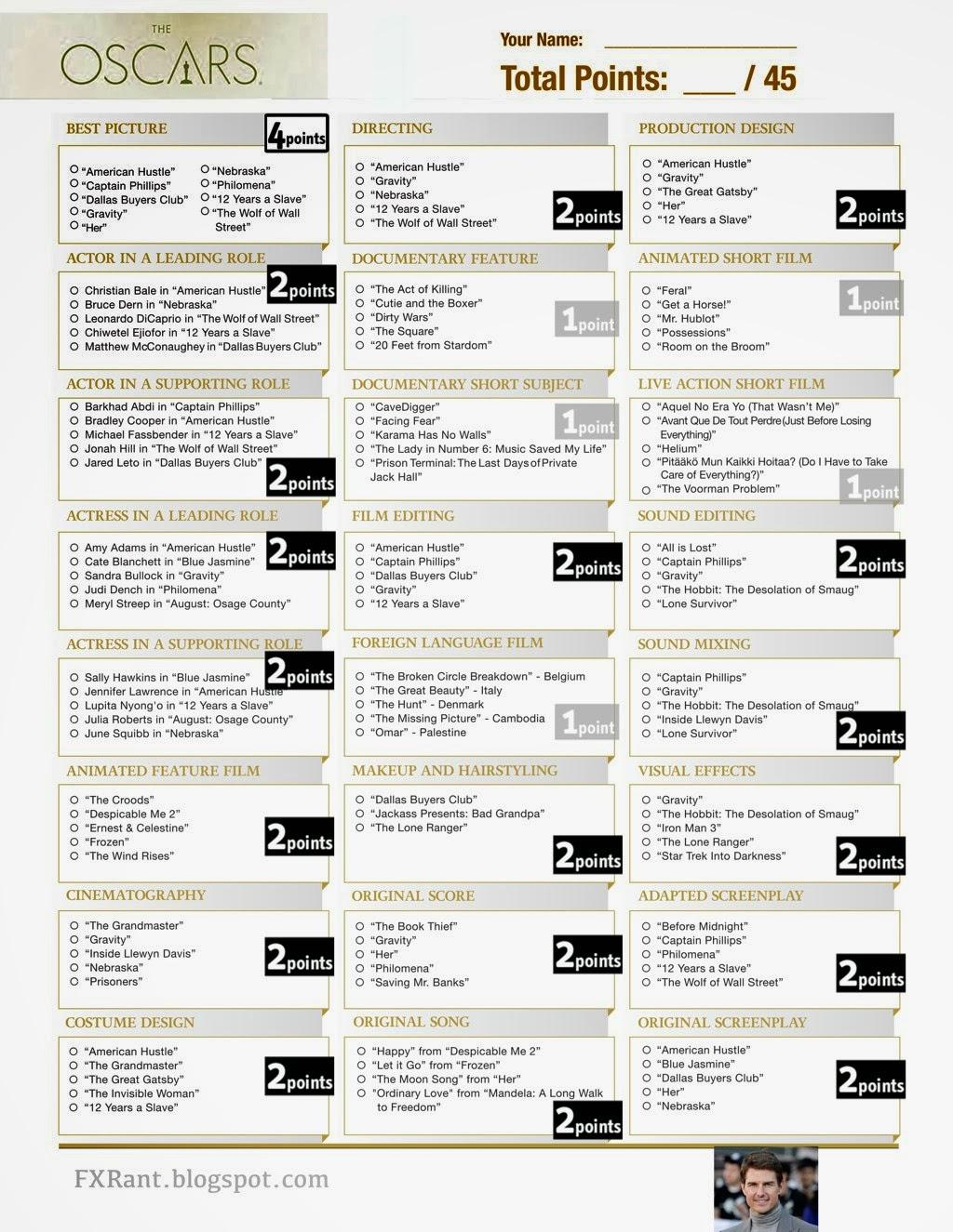 Oscar Nominations Printable Ballot
