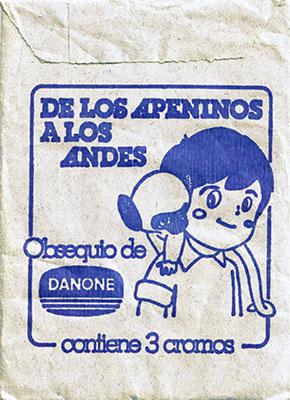 Sobre cromos Marco De los Apeninos a los Andes Danone
