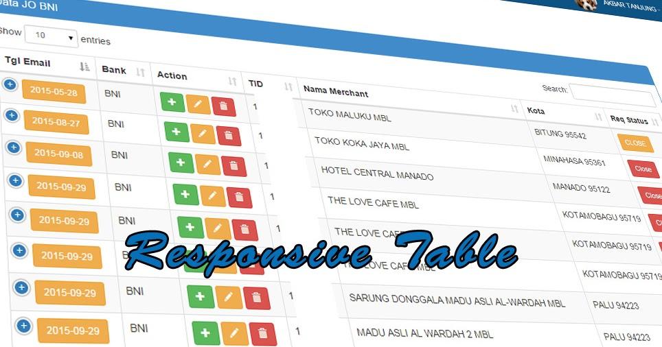 Membuat responsive table dengan bootstrap dan datatables for Table th responsive