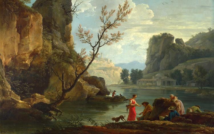 Claude-Joseph Vernet - A River with Fishermen