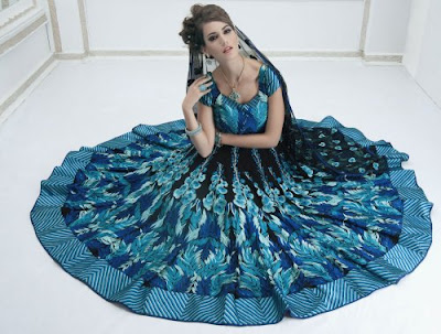 Blue Reception Cocktail Lehenga