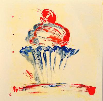 Monotypie Bild von Olga David cupcake mehrfarbig