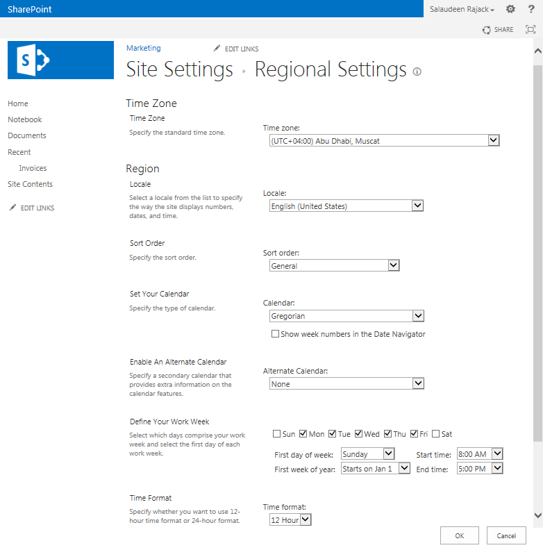 sharepoint 2013 timezone settings