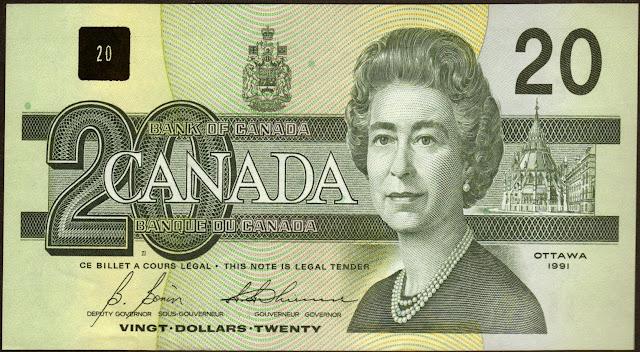 Canadian Banknotes 20 Dollars banknote 1991 Her Majesty Queen Elizabeth II, Queen of Canada
