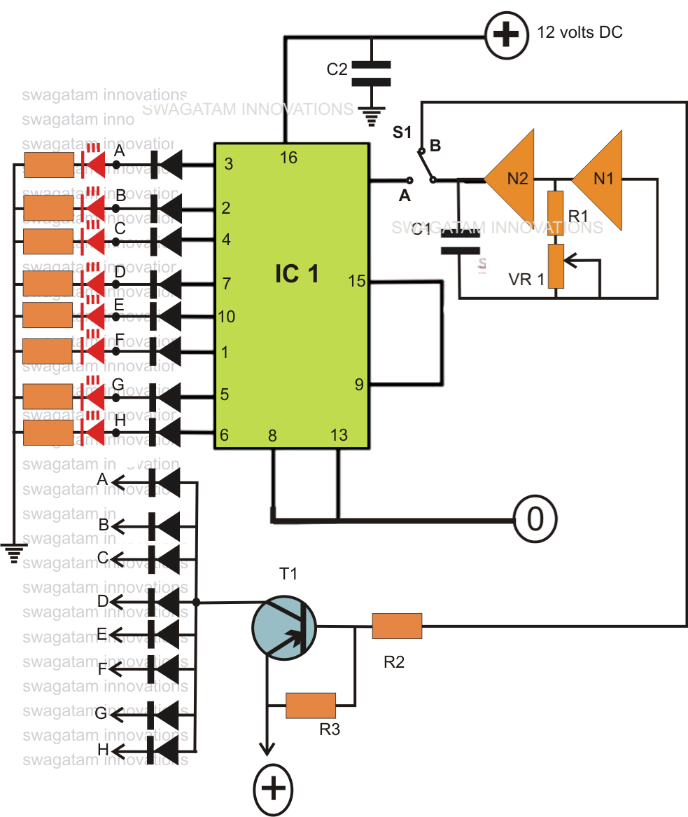 hight resolution of if the circuit would be required only to produce the chasing effect the diodes would not be required however as per the present ask the diodes become