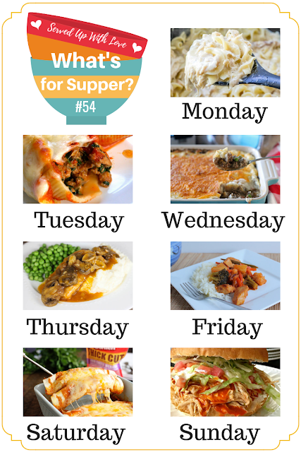 Sweet 'n Sour Chicken, Crock Pot Chicken and Noodles, Stuffed Shells, Shepherd's Pie, Beef Enchiladas, Sugar Cookies, and more at What's for Supper Sunday Meal Plan.