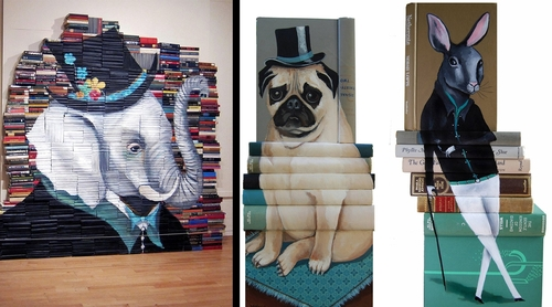00-Mike-Stilkey-Books-used-as-Canvasses-for-Paintings-www-designstack-co