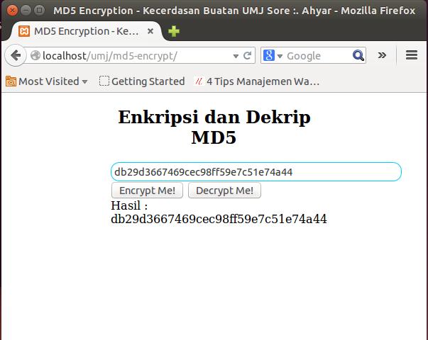 cara enkrip php md5