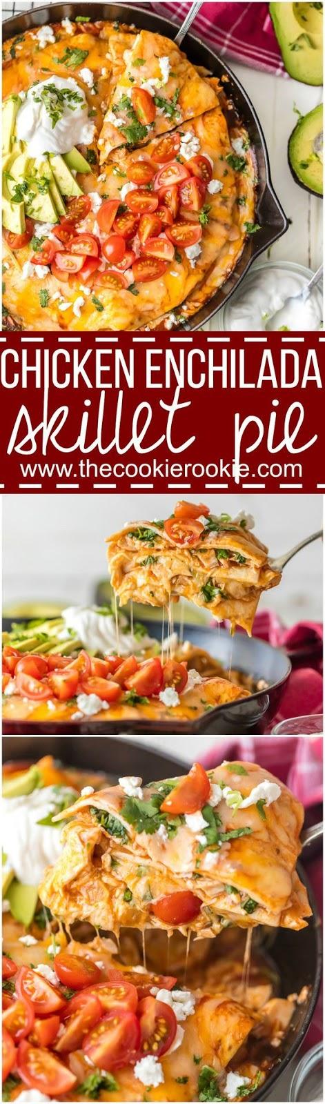 Chicken enchilada skillet pie