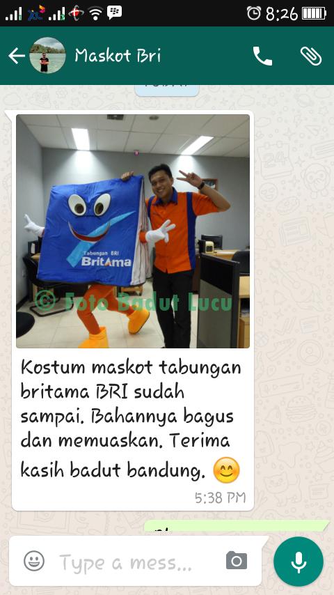 testimoni 1 kostum badut maskot bri bank rakyat indonesia papua