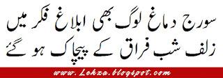 Suraj Dimagh Loog Bhi Ablaagh Fikar Mai  Zulf Shab-e-Firaq Ky Pychak Ho Gai