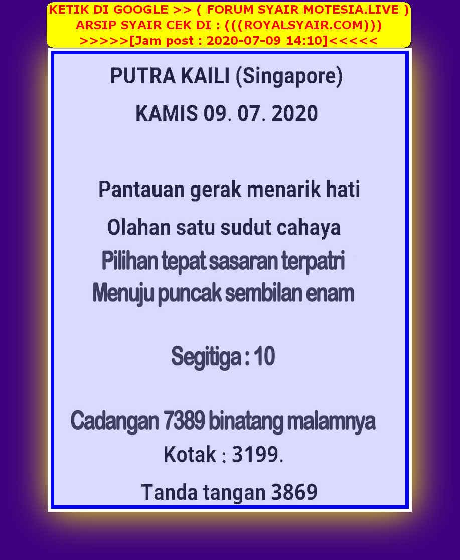 Kode syair Singapore Kamis 9 Juli 2020 25