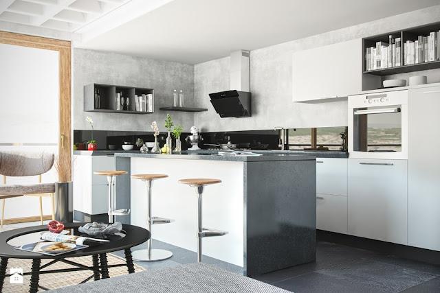 Blog wnętrzarski  design, nowoczesne projekty wnętrz   -> Kuchnia Cegla Okap