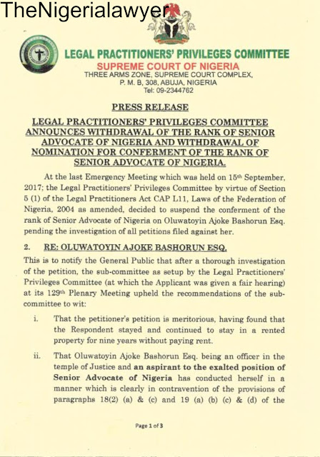 JUST IN: LPPC Withdraws SAN Rank From Kunle Ogunba Esq, Bars Oluwatoyin Ajoke Bashorun Esq From Applying
