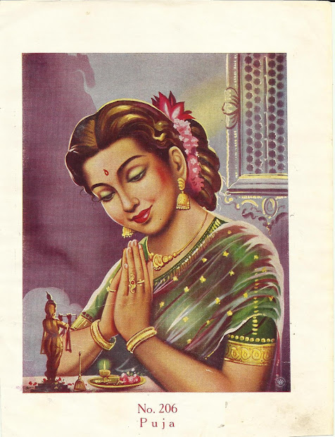 Vintage Indian Woman Painting