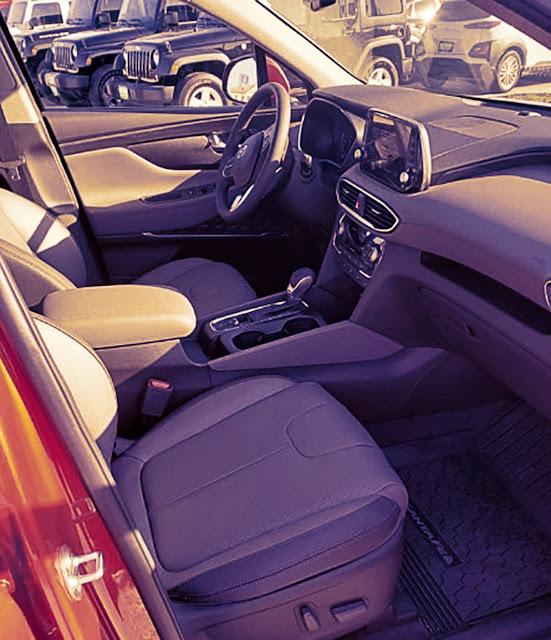 hyundai santa fe 2020 front interior, steering wheel, driver seat, and dashboard