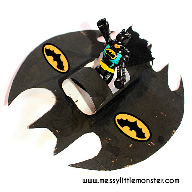 Batman craft idea for kids: Make a Batplane / Batmobile from cardboard and a toilet roll tube.