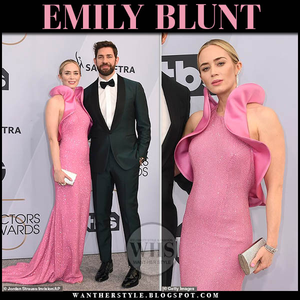 Emily Blunt in pink sequin gown michael kors and silver sandals sam edelman sag awards style january 27