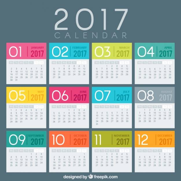 multi color 2017 calendar images