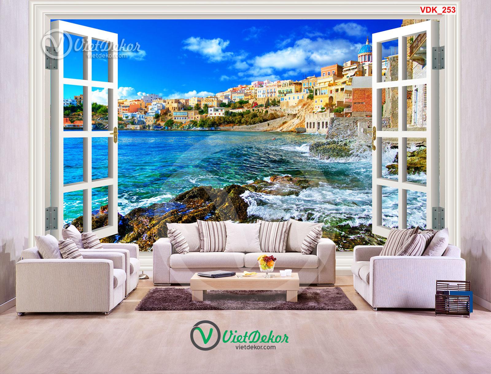 Tranh 3d dán tường cửa sổ phong cảnh bãi biển