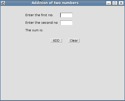 Addition of Two Numbers - Java AWT Example - Internet & Web