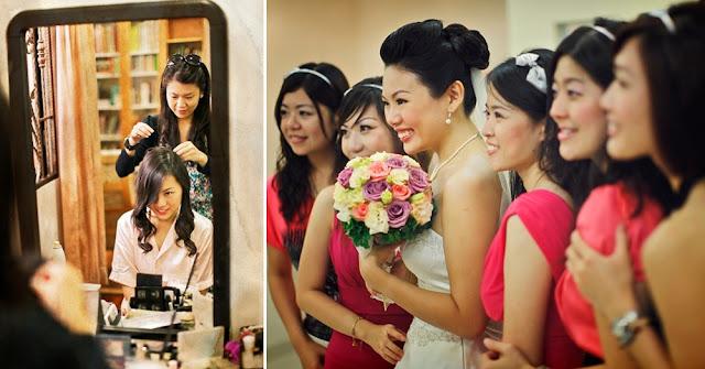 dressing hair in front of mirror bride looking down