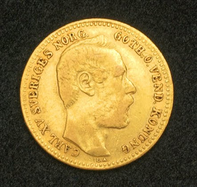 Sweden Gold Coins Carolin Gold Coin 10 Francs King
