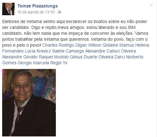 """Iretama: """"Toinzé"""" usa redes sociais para esclarecer boatos"""