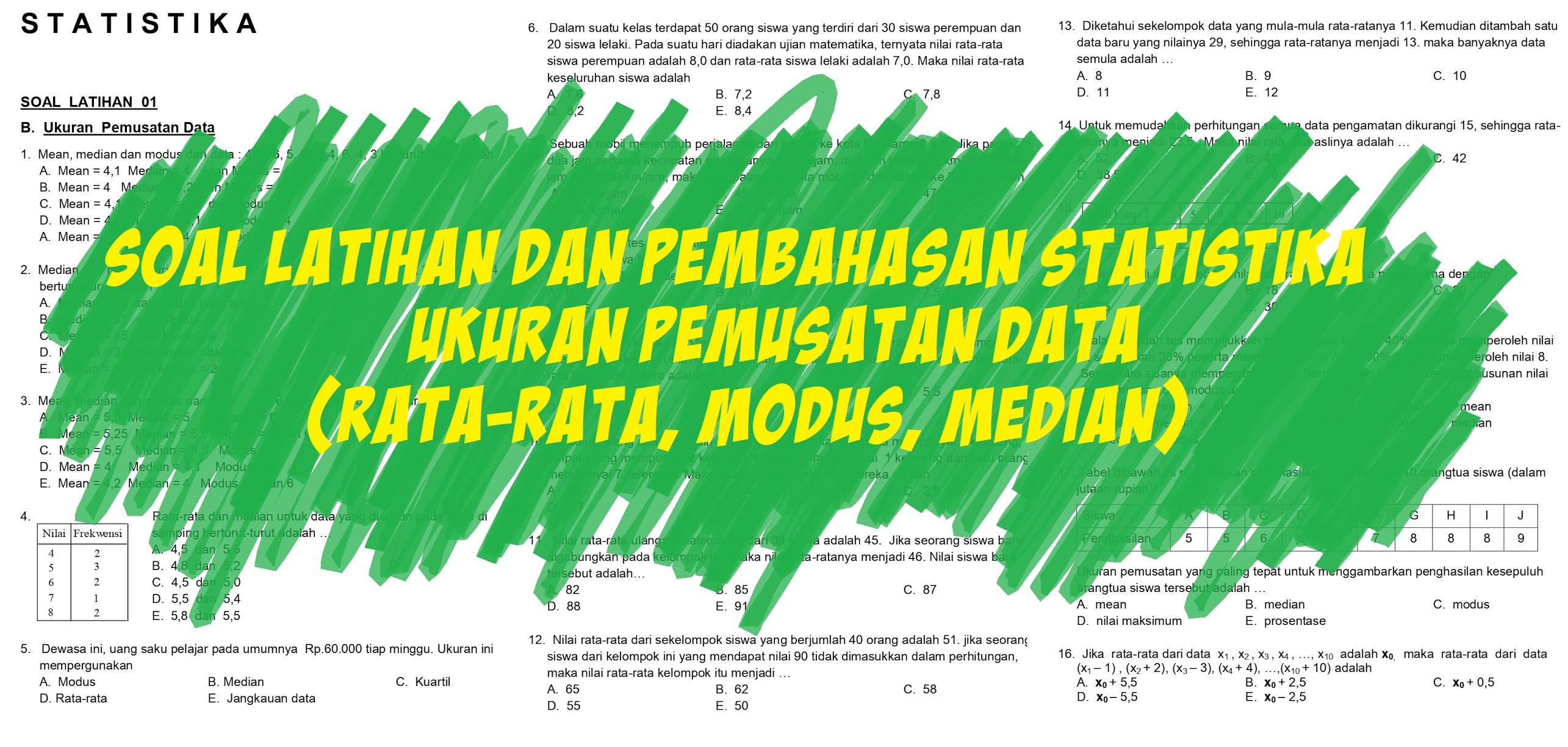 Statistika, Soal dan Pembahasan Ukuran Pemusatan Data (Rata-rata, Median, dan Modus) Untuk Data Tunggal