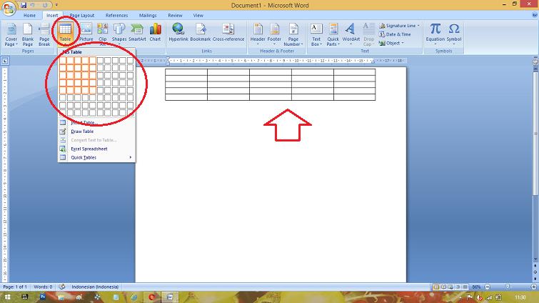 cara membuat tabel pada microsoft office word 2007