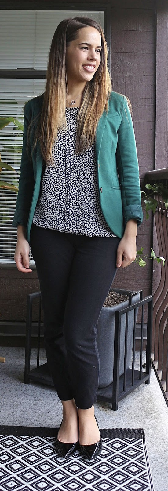 Jules in Flats - H&M Blazer, Smart Set Blouse, Old Navy Pixie Pants, Aldo Deloris Heels