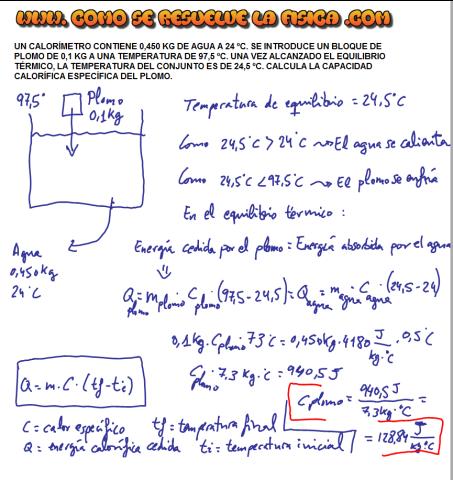 Ejercicio resuelto como calcular calor especifico