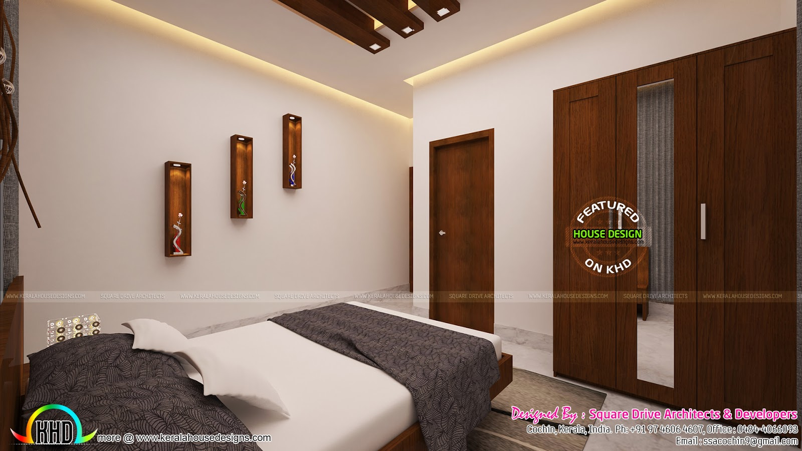 Bedrooms interior design kerala kerala home design and for Bedroom designs in kerala