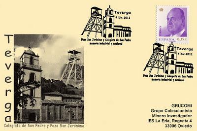Tarjeta del matasellos de GRUCOMI en Teverga: Pozo San Jerónimo y Colegiata de San Pedro