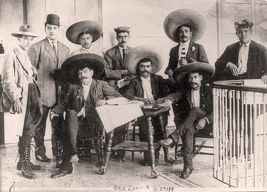 Emiliano Zapata and his staff