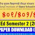 NIOS D.El.Ed: Semester 2 (2018) - 501, 502, 503 (Back) - Download Question Papers (Odia)