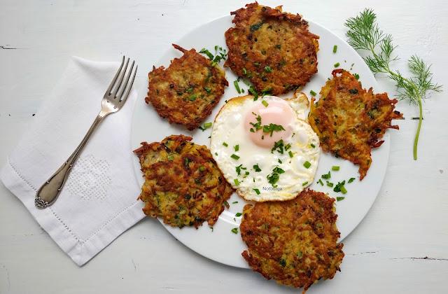Zöldfűszeres krumplilepény (tócsni)/ Kartoffel-Kräuterpuffer