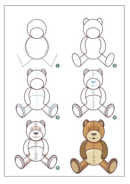 طريقة رسم دب للاطفال