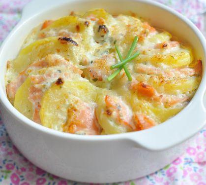 Recette Gratiné de pommes de terre au saumon fumé