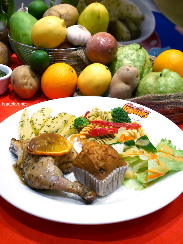 Fruity Chicken Meal (Kenny's Fruity ¼ Chicken + Garlic Parsley Potato + 2 side dishes + 1 Vanilla Roselle Muffin),