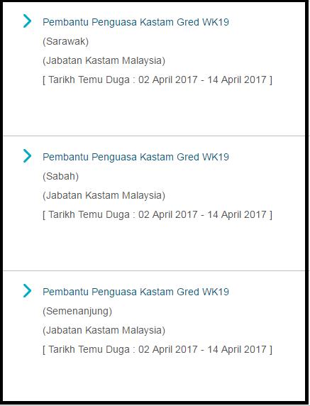 Temuduga Pembantu Penguasa Kastam Gred WK19 (Calon Sarawak, Sabah & Semenanjung Malaysia)