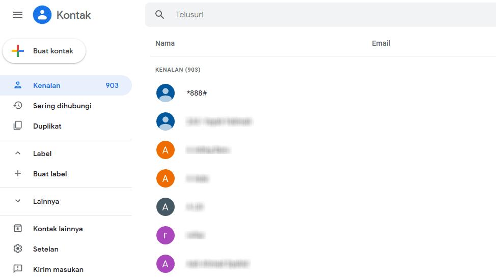 Cara Melihat Kontak Akun Google