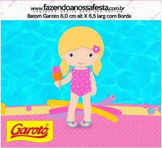 Etiquetas de Fiesta en la Piscina para Niña Rubia para imprimir gratis.