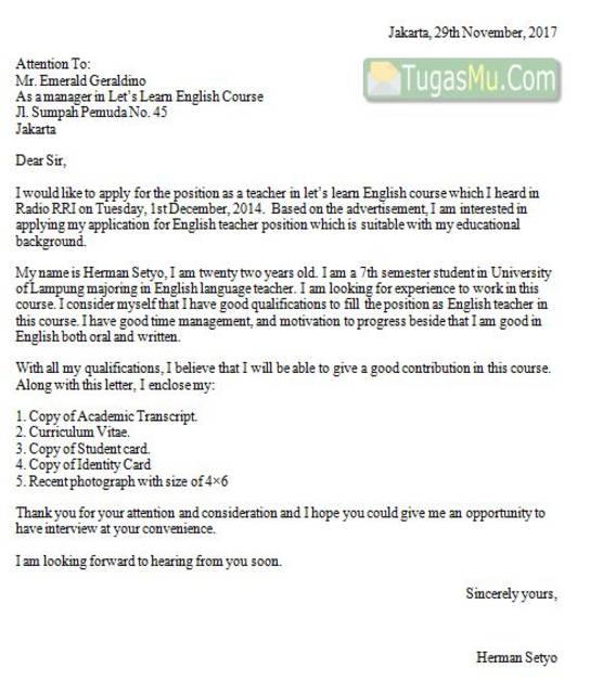 Contoh Surat Lamaran Via Email Lengkap Dalam Bahasa Indonesia dan Inggris Beserta Lampirannya