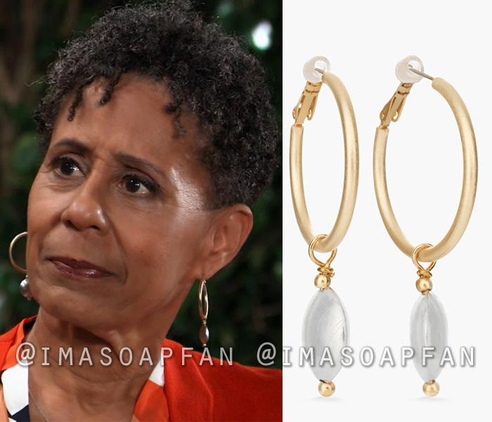 8359a9025 Stella Henry's Mixed Metal Bead Drop Hoop Earrings - General Hospital,  Season 56, Episode 09/20/18